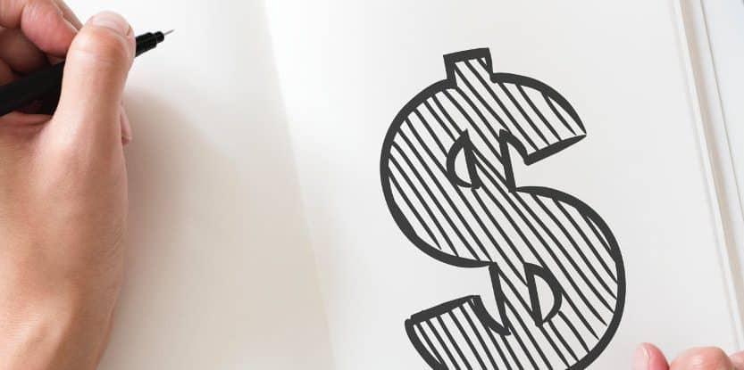 Kobieta narysowała symbol dolara